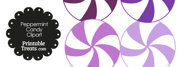 Purple and White Peppermint Candy Clipart