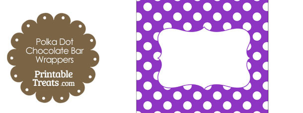 Purple and White Polka Dot Chocolate Bar Wrappers