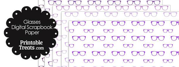 Purple Glasses Digital Scrapbook Paper