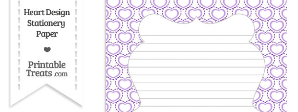 Purple Heart Design Stationery Paper