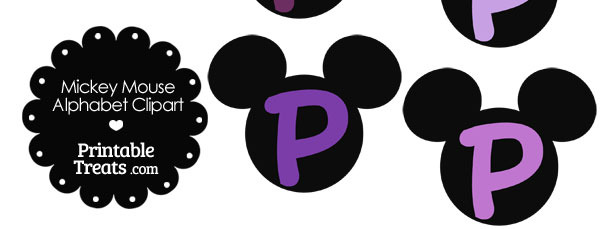 Purple Mickey Mouse Head Letter P Clipart
