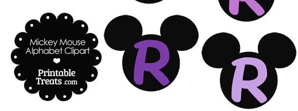 Purple Mickey Mouse Head Letter R Clipart