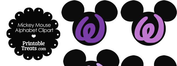 Purple Mickey Mouse Head Letter W Clipart