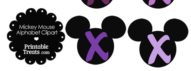 Purple Mickey Mouse Head Letter X Clipart