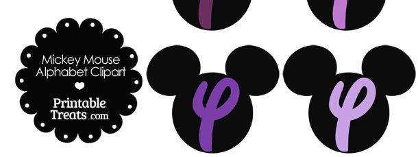 Purple Mickey Mouse Head Letter Y Clipart