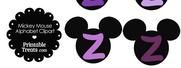 Purple Mickey Mouse Head Letter Z Clipart