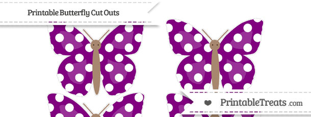Free Purple Polka Dot Small Butterfly Cut Outs — Printable Treats.com