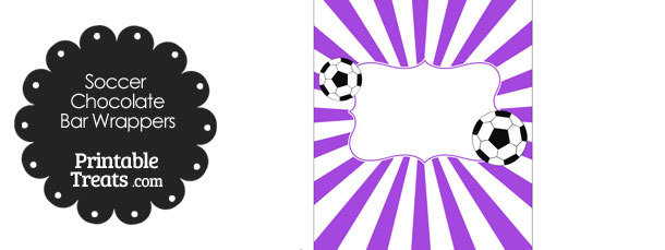Purple Sunburst Soccer Party Candy Wrappers