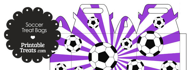Purple Sunburst Soccer Party Treat Bags