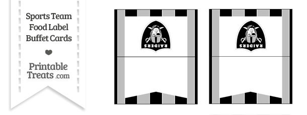 Raiders Food Label Buffet Cards