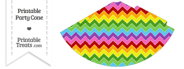 Rainbow Chevron Party Cone