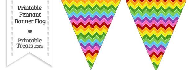 Rainbow Chevron Pennant Banner Flag