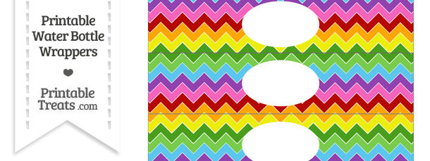 Rainbow Chevron Water Bottle Wrappers