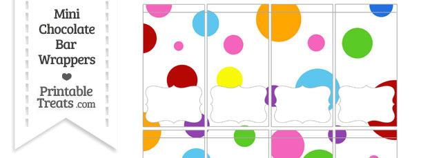 Rainbow Dots Mini Chocolate Bar Wrappers