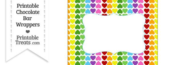 Rainbow Hearts Chocolate Bar Wrappers