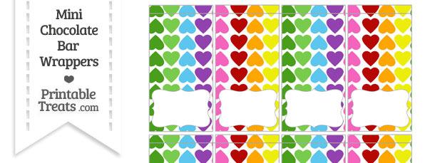 Rainbow Hearts Mini Chocolate Bar Wrappers