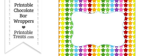 Rainbow Stars Chocolate Bar Wrappers