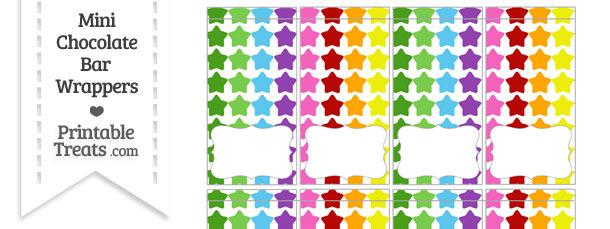 Rainbow Stars Mini Chocolate Bar Wrappers