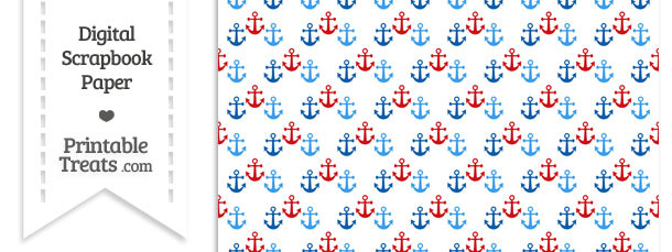 red and blue anchors digital scrapbook paper  u2014 printable