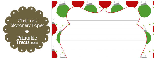 Red and Green Christmas Ornaments Stationery Paper