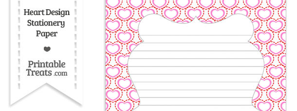 Red and Pink Heart Design Stationery Paper
