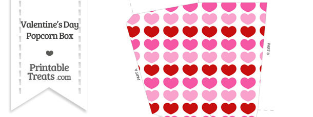 Red and Pink Hearts Popcorn Box