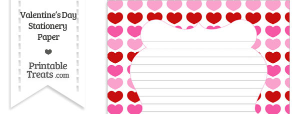 Red and Pink Hearts Stationery Paper