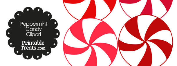 Red and White Peppermint Candy Clipart