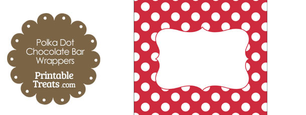 Red and White Polka Dot Chocolate Bar Wrappers
