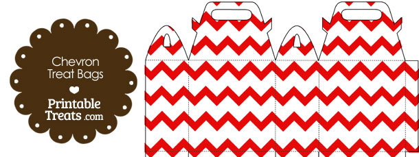 Red Chevron Treat Bags to Print