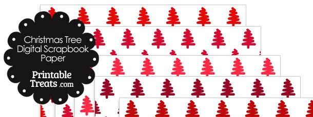 Red Christmas Tree Digital Scrapbook Paper