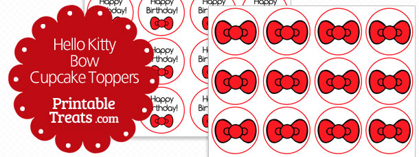 Red Hello Kitty Bow Cupcake Toppers Printable Treats Com