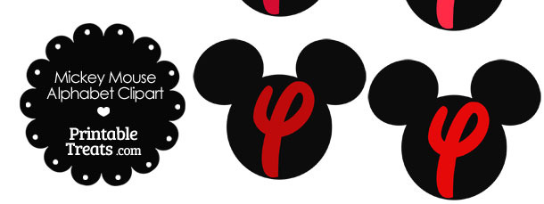 Red Mickey Mouse Head Letter Y Clipart