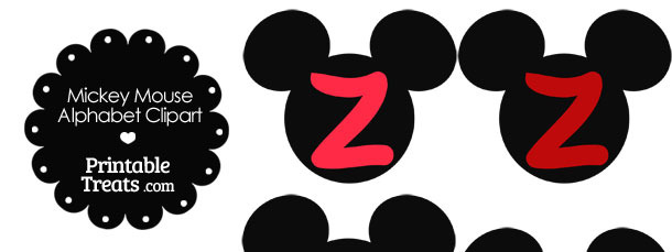 Red Mickey Mouse Head Letter Z Clipart