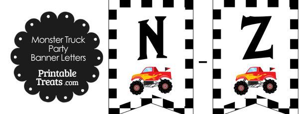Red Monster Truck Banner Letters N-Z