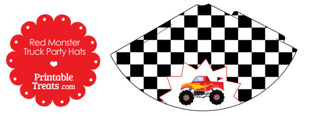 Red Monster Truck Party Hat