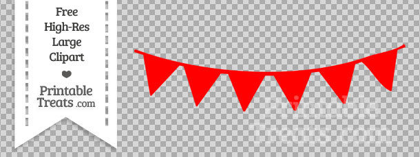 Red Pennant Bunting Banner Clipart — Printable Treats.com