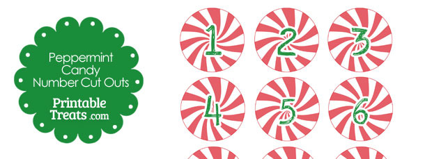 Red Peppermint Candy Number Cut Outs