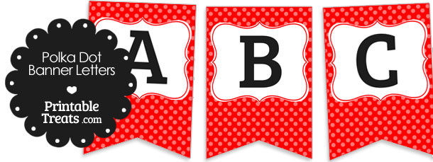 free red polka dot banner letters