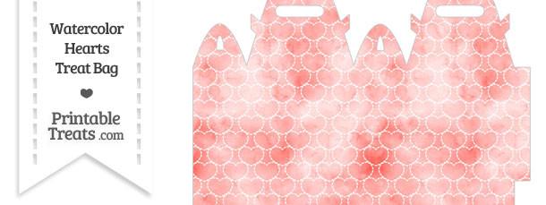 Red Watercolor Hearts Treat Bag