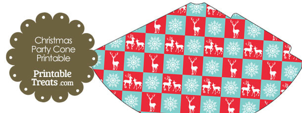 Reindeer and Snowflakes Party Cone