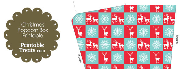 Reindeer and Snowflakes Popcorn Box