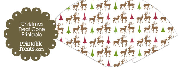 Reindeer Printable Treat Cone