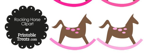 Rocking Horse Clipart with Pink Dots