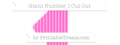 giant cupcake liner template - rose pink thin striped pattern giant number 1 cut out
