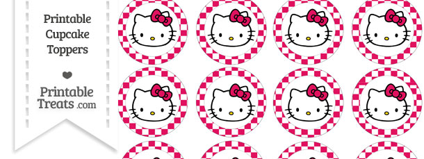 Free Ruby Pink Checker Pattern Hello Kitty Cupcake Toppers