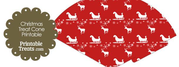 Santas Sleigh Printable Treat Cone