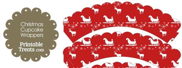 Santas Sleigh Scalloped Cupcake Wrappers