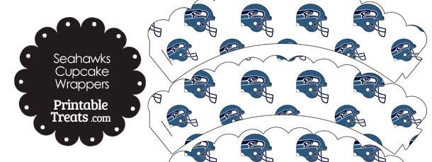 Seattle Seahawks Football Helmet Scalloped Cupcake Wrappers