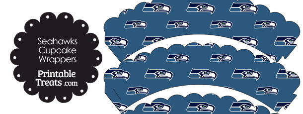 Seattle Seahawks Logo Scalloped Cupcake Wrappers